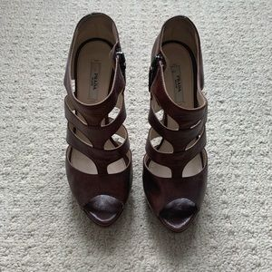 Prada High heel platform sandals pumps brown